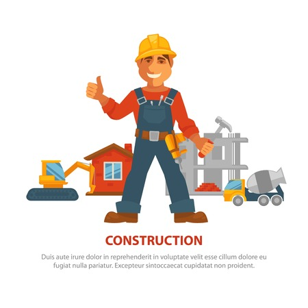 Construction advertisement banner with man in uniform and building equipment Vettoriali
