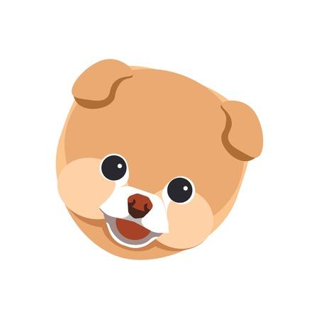Pomeranian spitz puppy close up portrait isolated on white Illustration