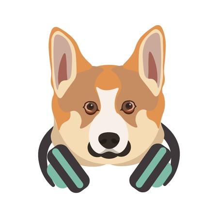 Basenji breed dog portrait with headphones on neck .
