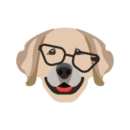one animal: Labrador retriever dog in glasses with black frames isolated on white. Illustration