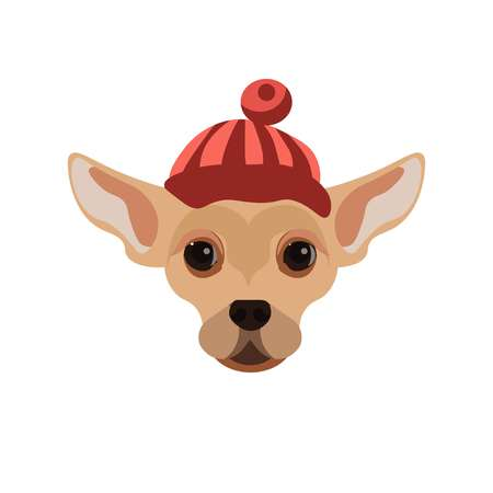 whelp: Russian Toy Terrier dog wearing red striped hat with small ball on top. Illustration