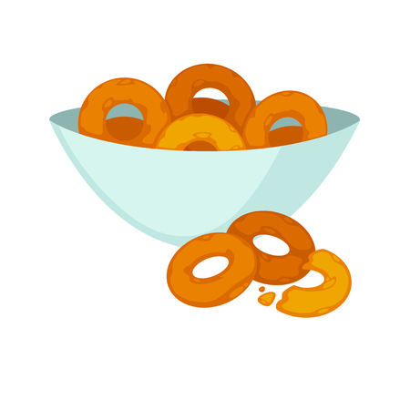 Round crispy bagels in deep plate and few isolated on white.