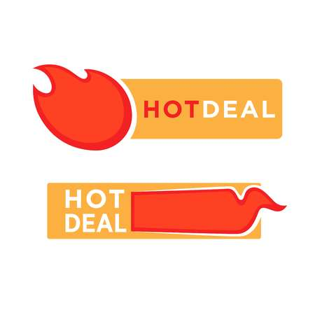 white sticker: Hot deal and price label sticker with burning fire elements isolated on white background.