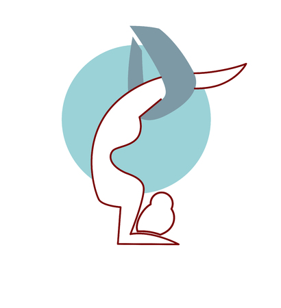Fly yoga logo design isolated on white. Woman silhouette abstract graphic.