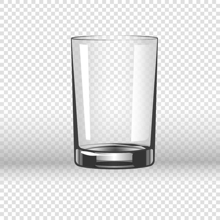 Clear glassy cup for water, empty drinking glass isolated on transparent background.