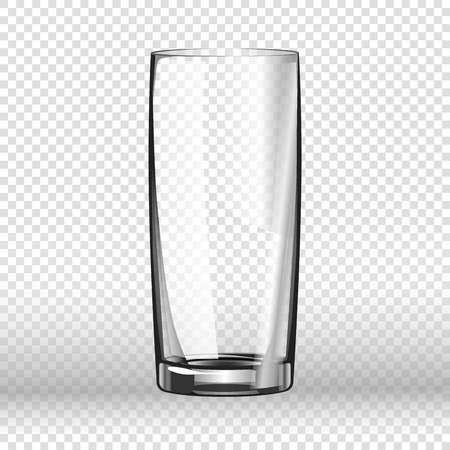 crystal background: Realistic long drinking glass isolated on transparent background. Tableware element in flat style, vector illustration of empty aqua vessel with thick bottom, glassware icon for liquid beverages