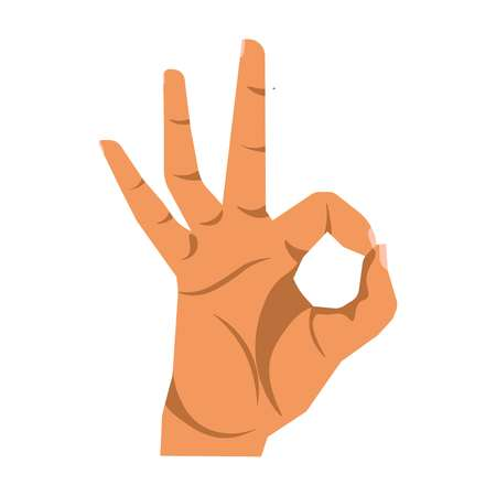 Okay hand sign close up illustration on white background.