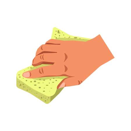 wiping: Human hand holding sponge tool isolated on white.