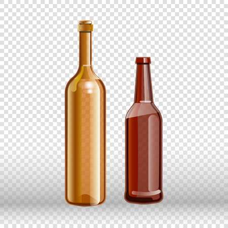 Two empty bottles of wine and beer isolated on transparent background.