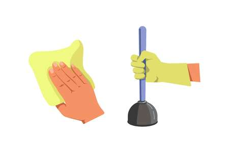 Human hand holding duster for cleaning and in protective glove with plunger isolated on white.