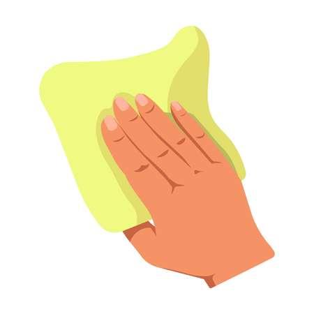 Menschliche Hand, die hellgelben Staubtuch für das Säubern lokalisiert auf Weiß hält. Hausaufgaben Konzept Logo. Logo