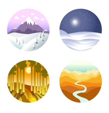 sky: Landscape vector poster of round icons with nature in winter and summer. Circle showing cold snowy weather in mountains and on plain at night, and more. Illustration