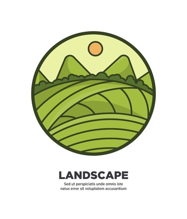 Landscape scenery design with green fields and hills web button in flat style design.