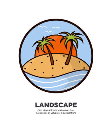 sky: Landscape scenery design with palms growing on tropical island on background of big yellow sun on seashore web button in flat style design.
