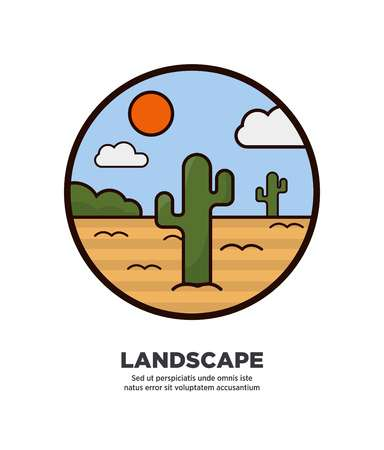 sky: Landscape scenery design with desert and cactus trees growing in sand on background of blue sky with clouds and hot sun web button in flat style design. Illustration