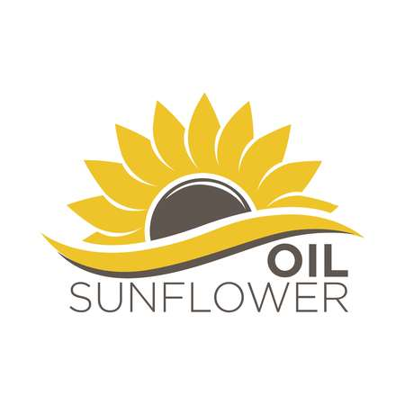 Colorful label with yellow flower with black dieting seeds, sticker design.