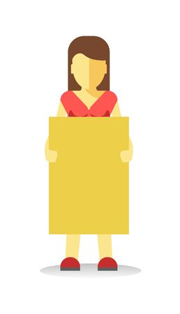 striking: Striking woman holding empty yellow banner. Vector illustration of female protesting against something. Illustration