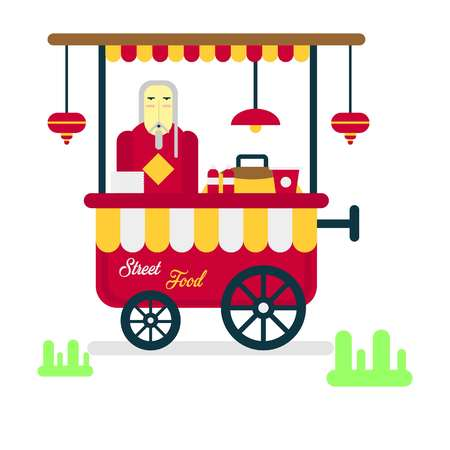 people icon: Street food trailer with vendor selling hot sausages isolated on white background. Shop on wheels in flat design cartoon style.
