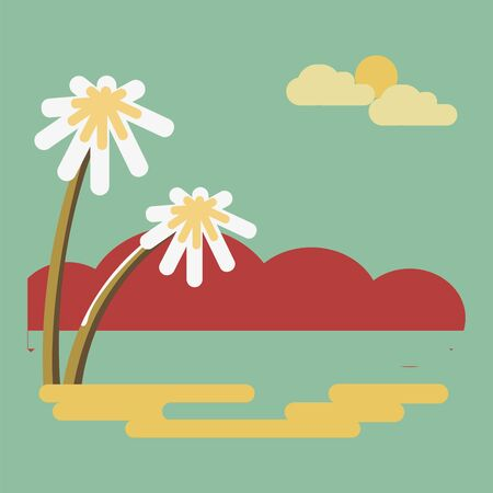 cloud: Summer abstract scenery design with chamomile flowers, red mountains on background, sun and clouds in the sky. Illustration