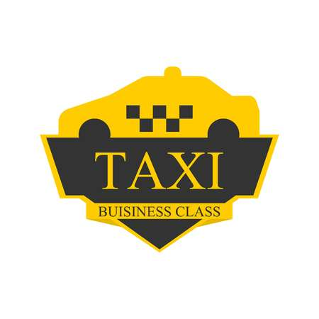 car isolated: Business class taxi logotype with abstract car on top of label isolated on white.
