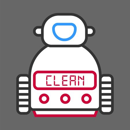 Robot machine for cleaning isolated on grey background. Vector colorful illustration in flat design of technological device on wheels, with screen and buttons on body. Futuristic household android Illustration