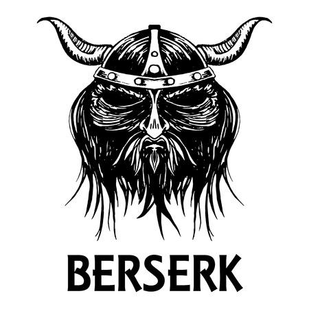 Berserk or berserker warrior head or mask. Ancient mythology Norse or Scandinavian viking or fierce soldier in helmet with horns. Vector isolated sketch icon