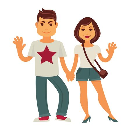 young family: Young couple holding by hands and smiling. Vector flat family characters of man and woman or happy girlfriend and boyfriend with waving hands