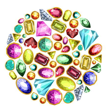 Gems and diamonds or jewel gemstones. Vector isolated icons set of shiny precious emerald, sapphire and ruby crystal