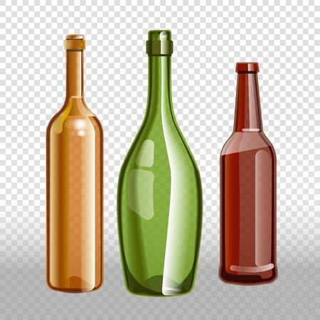 wine red: Glass bottles or glassware of alcohol wine, beer or champagne. Vector isolated 3D realistic icons set on transparent background
