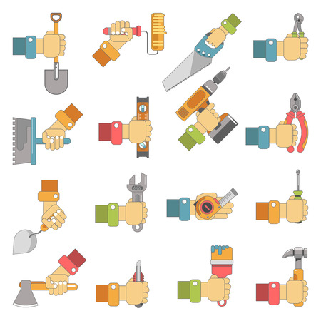 construction: Hands holding work tools of carpentry, fix or home repair instruments. Vector flat icons of hammer, screwdriver and spanner, paint brush, trowel and saw or drill