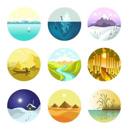 Natuur landschap vector iconen. Geïsoleerde set sneeuw bergen of alpenpieken en ijsbergen in oceaan, rivier in velden, landdorp in winter bos en zonnige vallei of woestijn voor reisreis