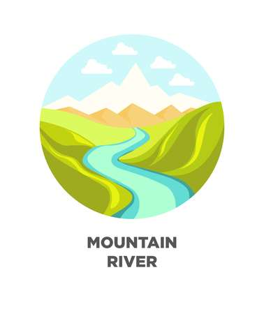 Mountain river nature landscape. Vector isolated flat icon for travel journey Illustration