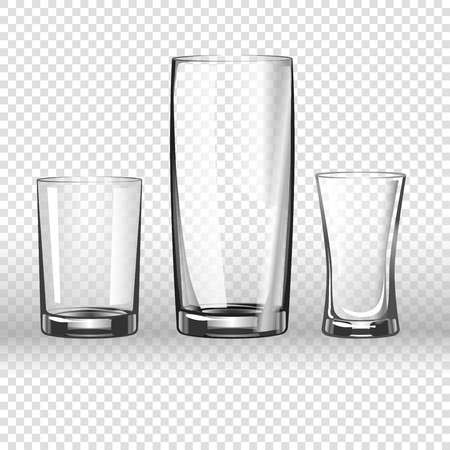 glass cup: Glass or drinking glassware 3D realistic vector isolated icons on transparent background. Isolated set of empty goblet cup, wineglass, tumbler or bumper