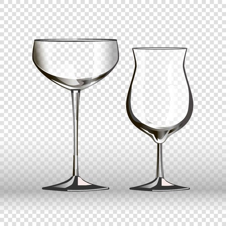 Drinking empty glassware of wineglass and cocktail glass. 3D realistic vector isolated icons on transparent background Ilustrace
