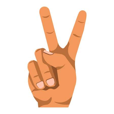 finger shape: Peace or V shape hand and finger gesture sign. Vector flat isolated icon on white background