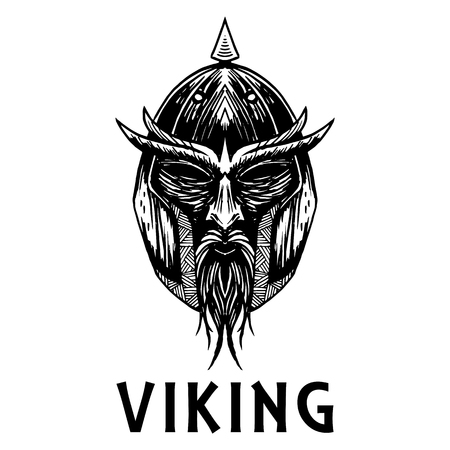 Viking warrior head or mask. Ancient mythology Swedish or Norse Scandinavian fierce berserk soldier in helmet with spear crest. Vector isolated sketch icon