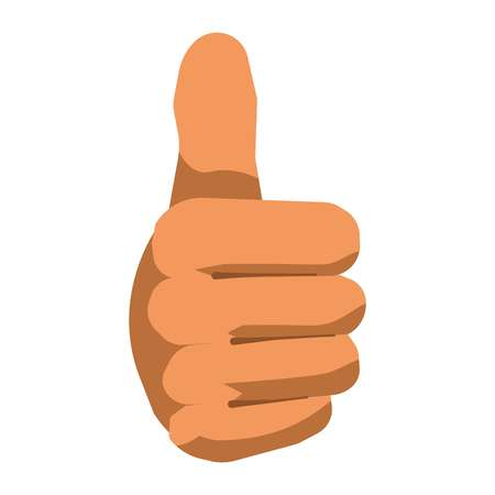 forefinger: Thumb up hand gesture sign vector flat isolated icon