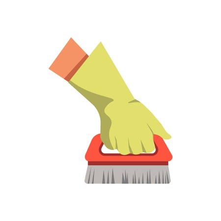 cleaning service: Hand holding cleaning brush broom vector flat isolated icon