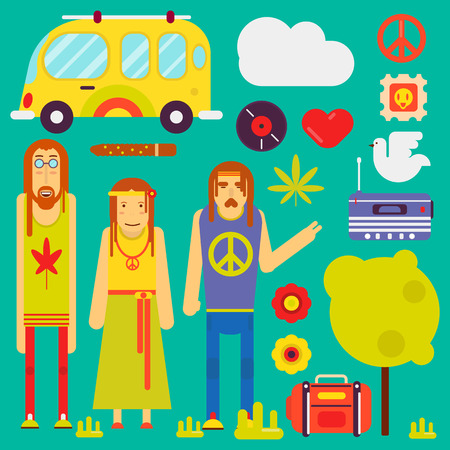 Hippie culture style concept. Vector hippy characters and attributes symbols of peace or pacific sign, clothing and weed leaf cigarette, radio and travel van