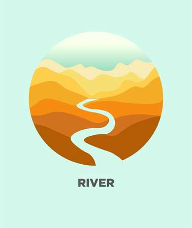 Desert river in canyon mountain nature landscape. Vector isolated flat icon for travel journey
