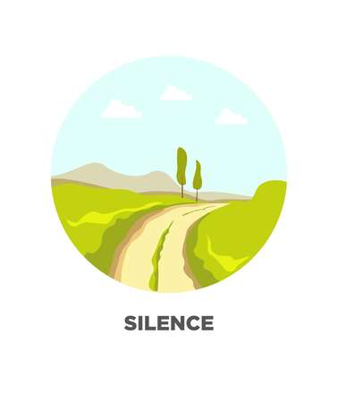 tree isolated: Road path in grass field or forest valley nature landscape. Vector isolated flat icon for travel journey Illustration