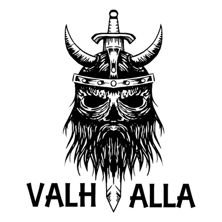 Valhalla symbol of ancient Viking warrior in helmet with horns and sword. Swedish or Norse Scandinavian mythology isolated sketch icon