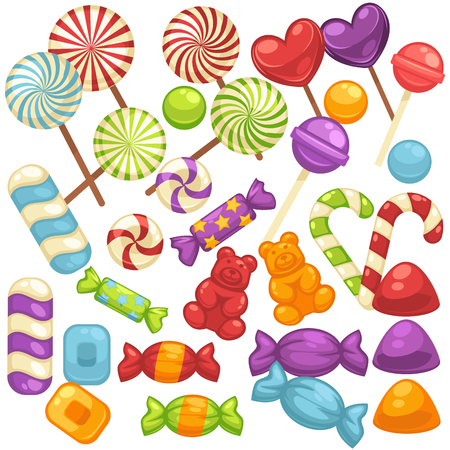 Candy and caramel sweets vector isolated flat icons set Иллюстрация
