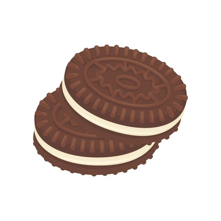 galleta de chocolate: Chocolate cookies postre icono de vector