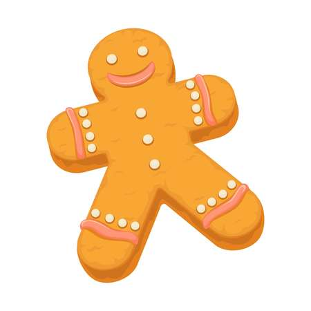 raisin: Gingerbread man cookie biscuit dessert vector icon