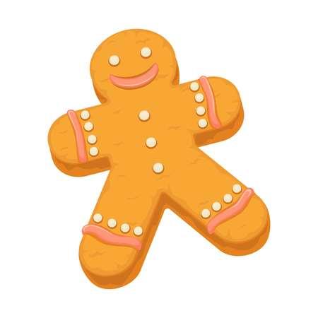 Gingerbread man cookie biscuit dessert vector icon