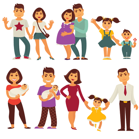 segurar: Família, mãe, pai, crianças, vetorial, apartamento, ícones, jogo