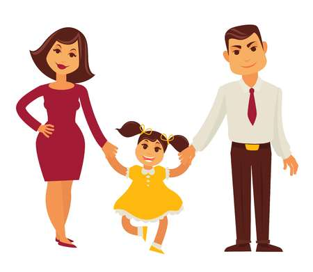 father with child: Family mother, father and child girl vector flat icon