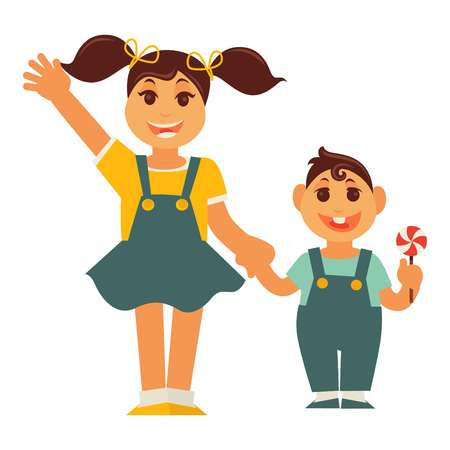 Sister girl and brother boy holding by hands vector flat family Illustration