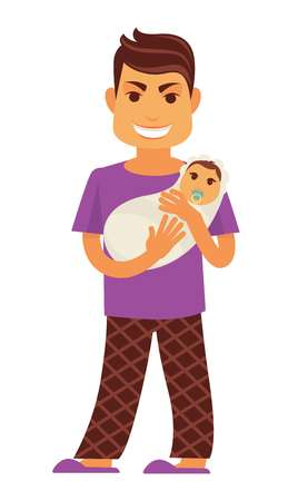 family man: Young father man holding newborn baby child vector flat family